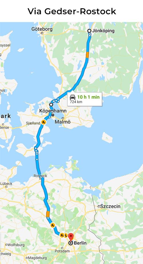 Bila till Berlin via Rostock