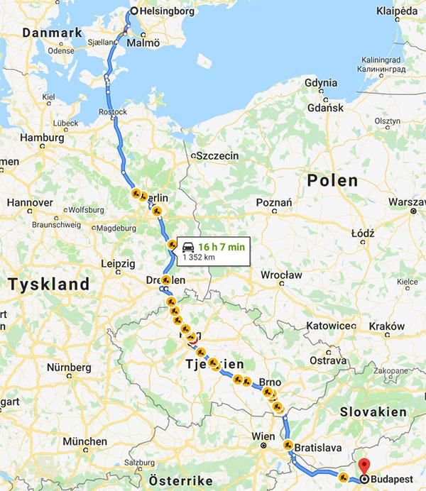 Karta bila till Budapest