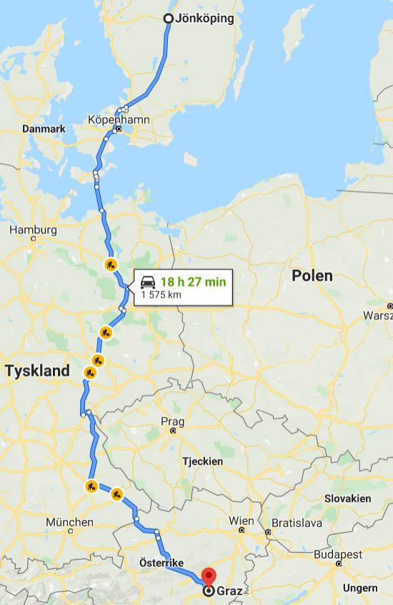 Karta - bila till Graz