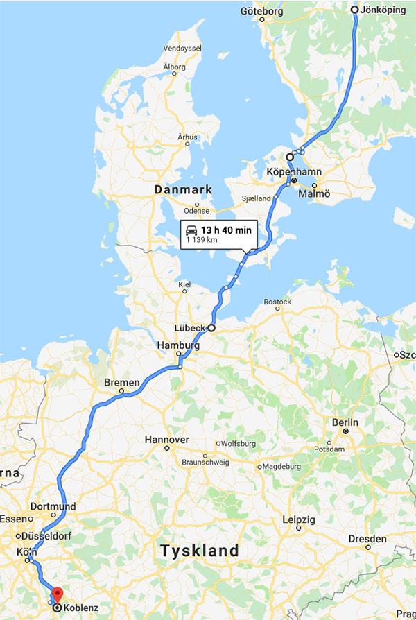 Karta - bila till Koblenz