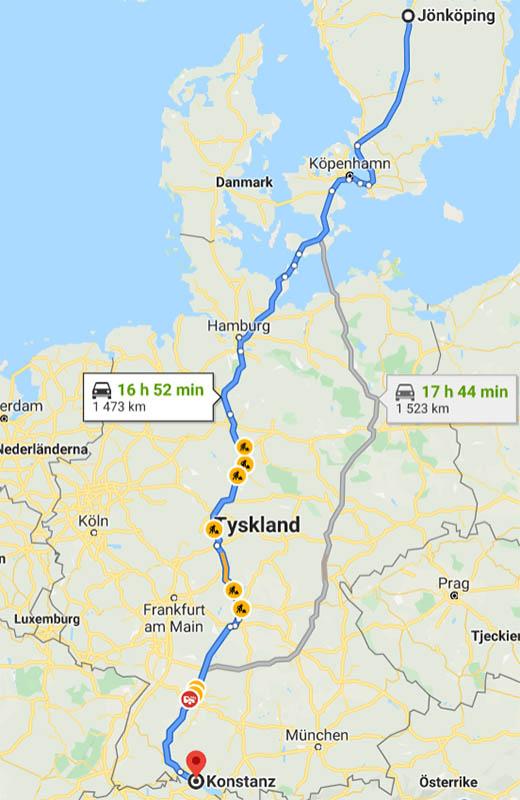 Karta - bila till Konstanz