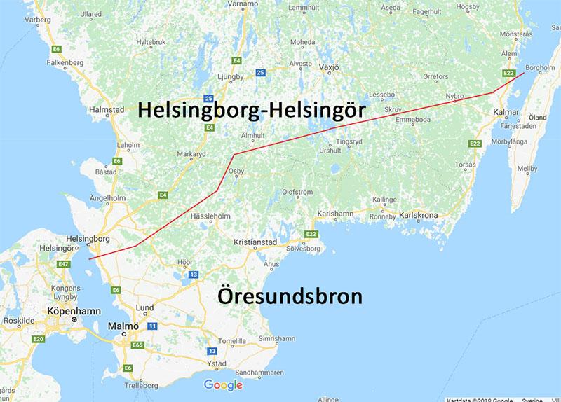 Karta Helsingborg-Helsingör