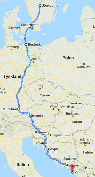 Karta över resväg till Montenegro och Albanien