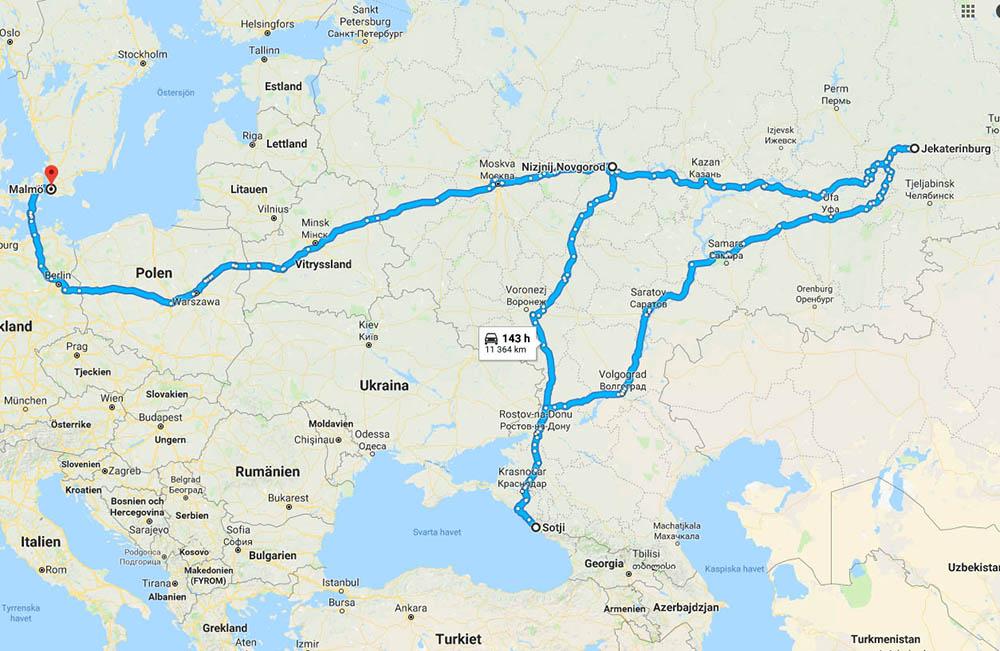Karta Malmö till fotbolls-VM