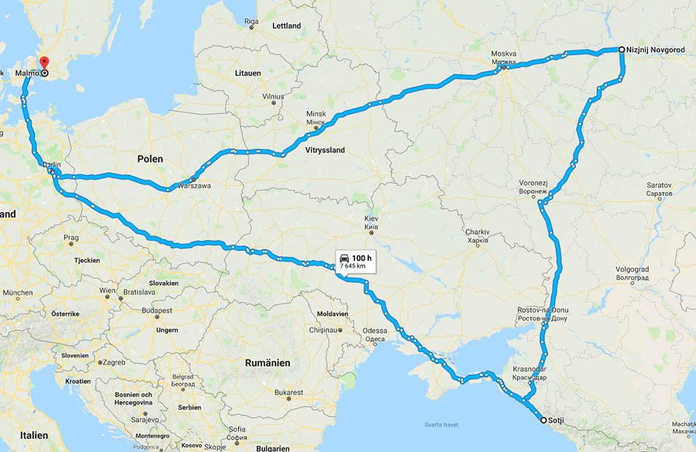 Karta Malmö till fotbolls-VM korta rutten