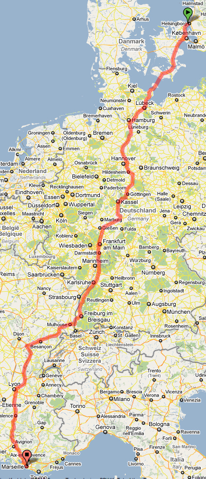 Karta resväg Marseille