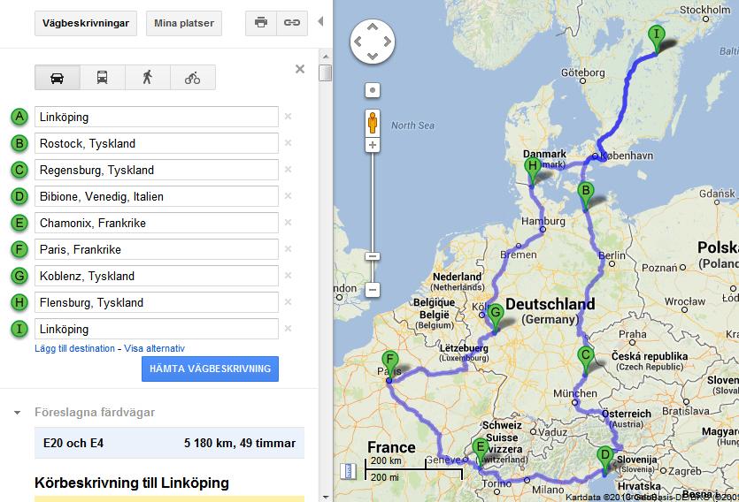 Bilsemester planering Google Maps