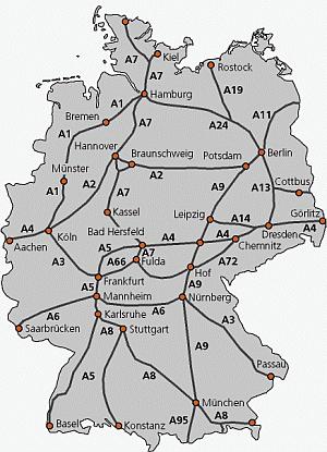 Större motorvägar i Tyskland