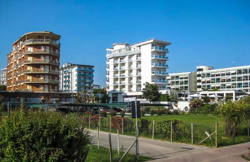 Hotell vid stranden i Bibione