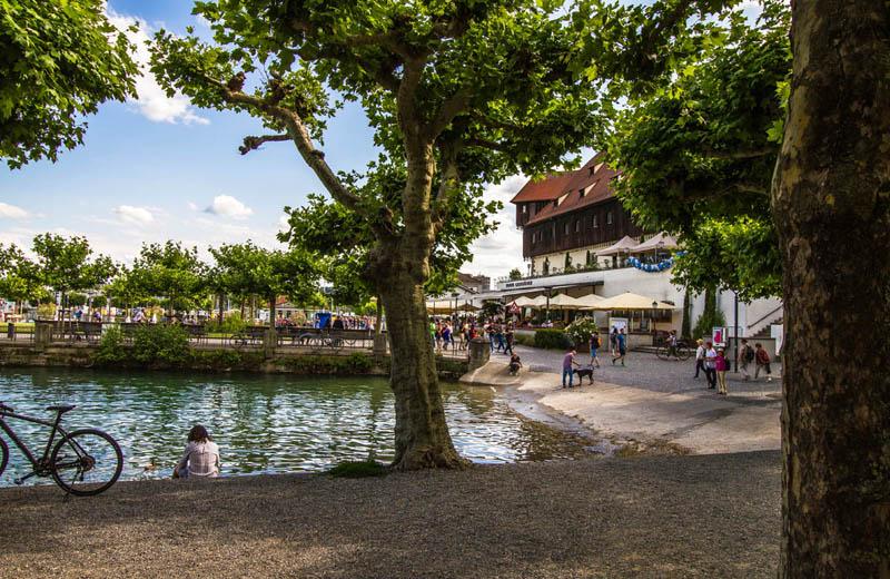 Hamnen och parken Stadtgarten i Konstanz