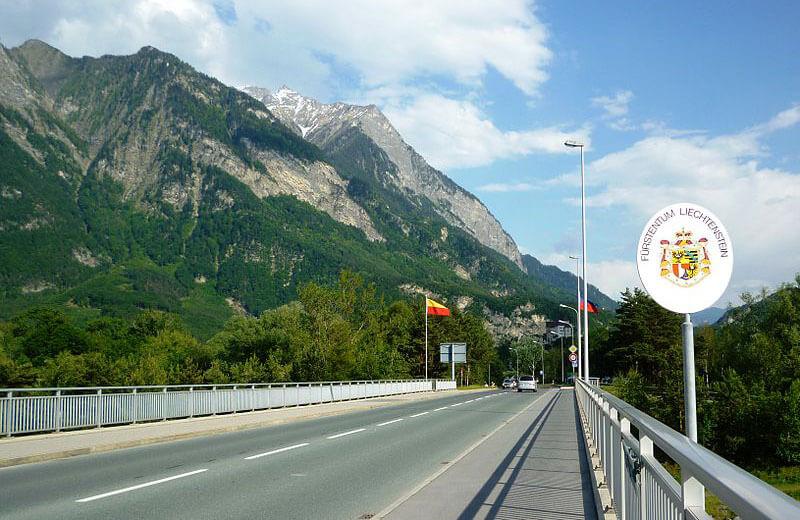 Gränsen mellan Liechtenstein och Schweiz vid Balzers