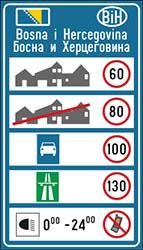 Hastighetsskylt Bosnien och Hercegovina